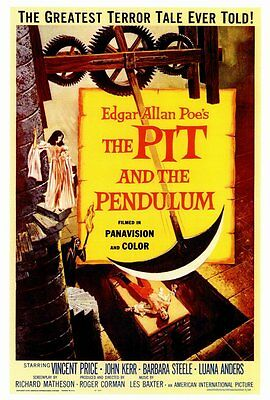 THE PIT AND THE PENDULUM Movie POSTER 27x40 Vincent Price John Kerr Barbara
