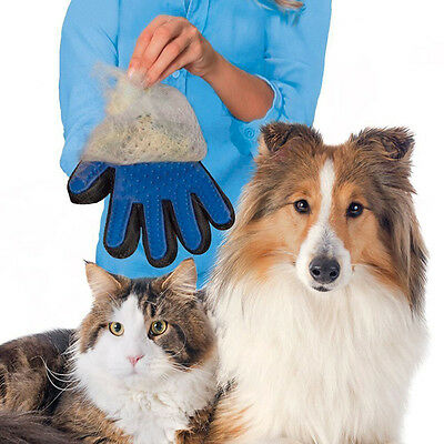 True Touch Five Finger Gloves for Gentle &  Efficient Pet Puppy Dog Cat Grooming