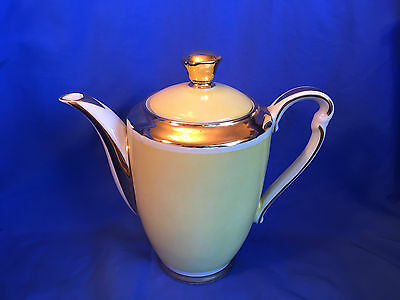 Mid Century Danish Porcelain Coffee Teapot Hand Decorated Gold 2.5 Cup DENMARK