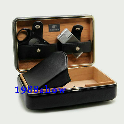 COHIBA Case Bag Leather Holder Box Wooden Cigar 4 Tubes Humidor Lighter+Cutter