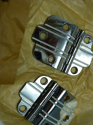 1950's Retro NOS National Lock N58-032B CHROME Cabinet Hinges White Line Stripe