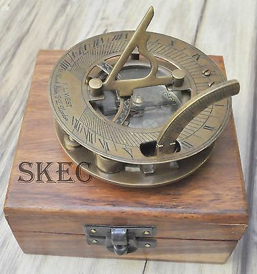Solid Brass Collectable Maritime Sundial Compass Vintage West London With Box