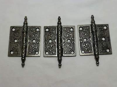 "3 Antique Cast Iron Victorian Eastlake 3"" X 3""  Steeple Top Door Hinges"