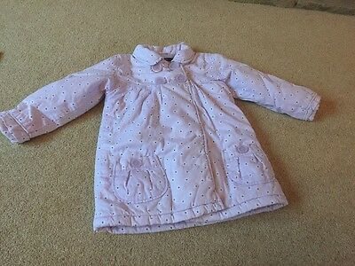 George Lilac Girls Padded Coat Jacket 2-3 Years Light Purple Flowers