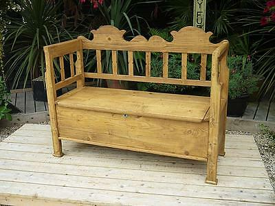 Fabulous Old Antique Victorian Pine Hungarian/monks Box Bench/settle/pew/storage