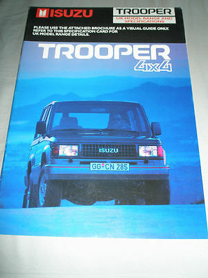Isuzu Trooper 4x4 range brochure Dec 1988
