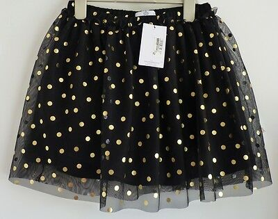 BNWT M&S Stunning Black & Gold Polka Dot Net/Tulle Skirt, 11-12 yrs, Brand New!