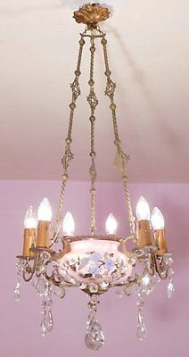 Rare Antique French 6 Light Chandelier With Luneville Faience Bowl and Crystal G