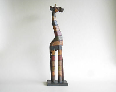 Standing Giraffe RUSTIC Hand Carved & Painted Wooden 50cm.....