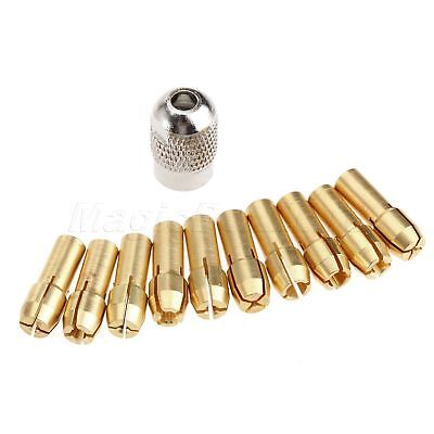 10pc 0.5-3.2mm Brass Collet Bit Nut Kit & Shaft Screw Cap  Grinder Rotary Tool
