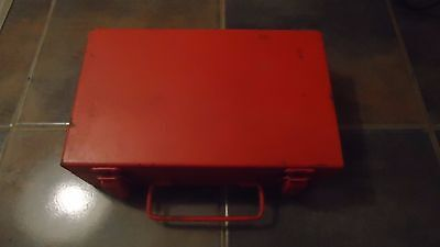 Vintage Used Old Painted Red Mining MSA Mine Safety Appliance Co First Aid Kit