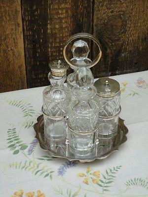 Vintage Silver Plated Four Piece Condiments Set Shaker Bottles Mustard Collector