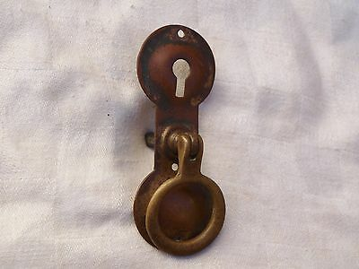 Reclaimed Arts & Crafts Brass Door Cupboard Cabinet Bureau Pull Handle Key Lock