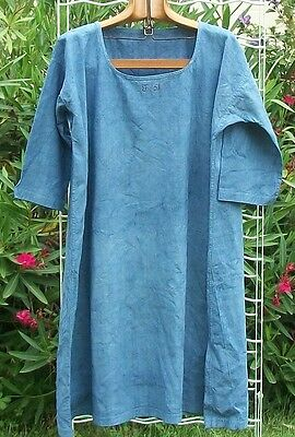 Antique French Linen Smock Tunic Robe c1880 Pure linen Dress indigo blue boho