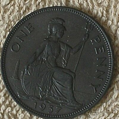 1937 King George V1 British One Penny Coin