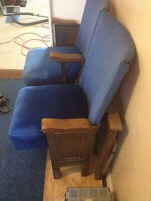 2 Vintage Cinema Theatre Seats 1930s Chairs Shabby Chic Retro
