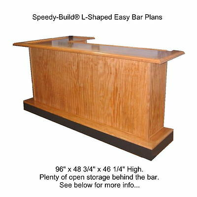 Home Bar Plans Easy L-Shaped Open Shelving Design. PDF File Sent by Email.