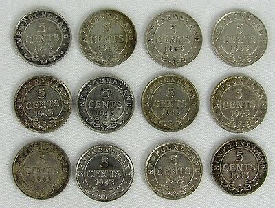 Newfoundland - Lot Of 12 - 1943 5 Cent Silver Coins