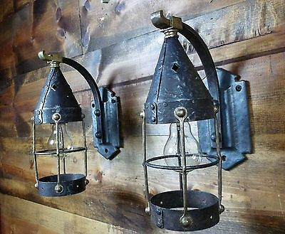 2-Old Gothic Craftsman Tudor Arts Crafts Witch's Hat Cottage Porch Light Sconce