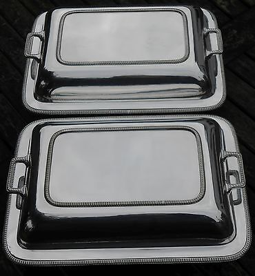 Pair Of Vintage Silver Plated Entree / Serving Dishes - Sheffield