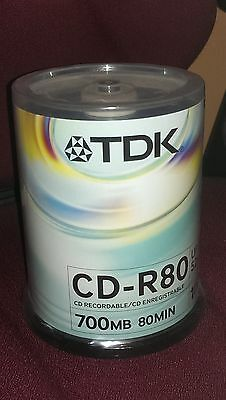 TDK CD-R CD Recordable 700mb 52x Speed 100 Discs