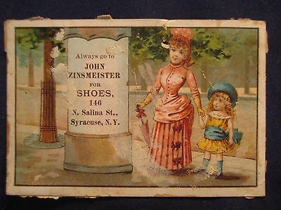 Victorian Trade Card John Zinsmeister For Shoes Syracuse, Ny Mother & Child