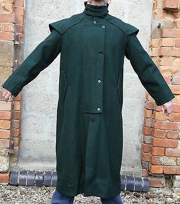 Rare Mens Swanndri NZ Dark Green Wool Drovers Long Trench Coat Mint Condition L