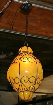 Art Deco Style  Wrought Iron Ceiling Lamp & Hand Blown Glass Big