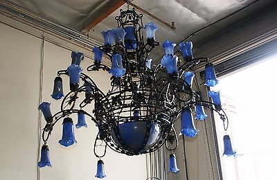 8 Feet Art Deco Style Heavy Duty Wrought Iron Chandelier  And Blown Glass Shades