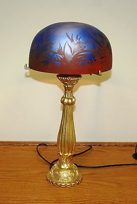 """Rench Reproduction Acid Etched Cameo Glass """"galle"""" Table Lamp Europe Post 1940"""