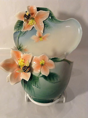 Franz Porcelain Bumble Bee Honeysukle Cup & Saucer Mint Condition Displayed Only