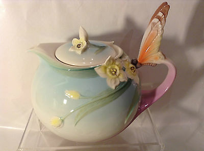 Franz Porcelain Beautiful Large Orange Butterfly Teapot Perfect Condtion Unused