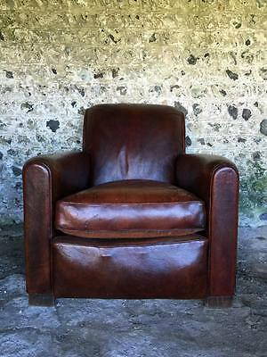 Grand Antique French Conker Leather Club Arm Chair C1950 Vintage
