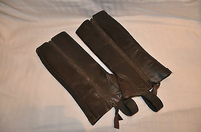Ariat - Large Childs Chocolate Leather Half Chaps - Hardly Worn Lovely Condition