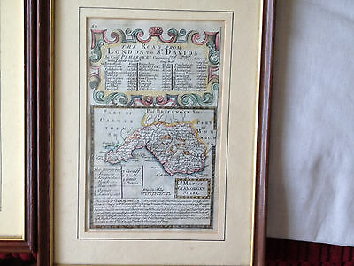 13no original 18c welsh counties road maps all framed