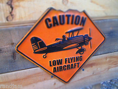CAUTION LOW FLYING AIRCRAFT AIRPLANE PILOT Metal Sign Hanger Man Cave Airport
