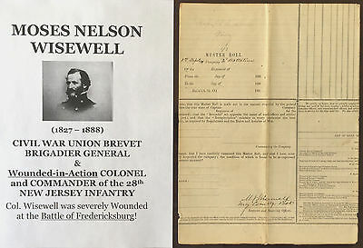 CIVIL WAR GENERAL WIA COLONEL 28th NEW JERSEY INFANTRY MUSTER DOCUMENT SIGNED 63
