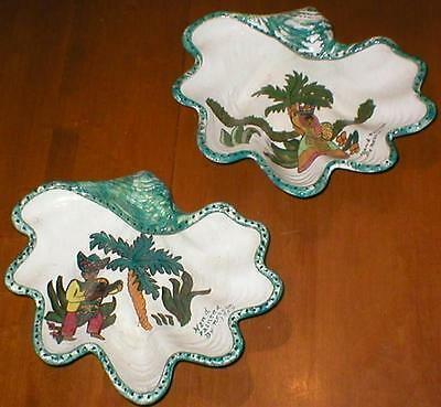 "Antique Pair of Ceramic Candy Dishes Hand Painted by Nettie in 1959 - 10"" x 8.5"""