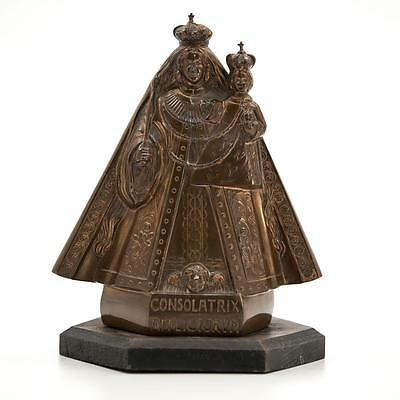 Glorious Antique / Vintage Bronzed Metal Figurine Our Lady of Consolation Statue