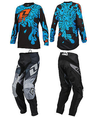 ONE INDUSTRIES YOUTH BLACK ATOM MOTOCROSS PANTS / SLIME BLUE JERSEY childs kit