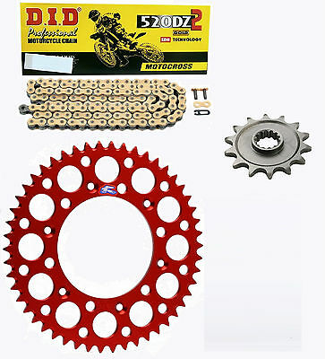 DID race chain & 14t/50t Renthal red sprocket kit Honda CRF250R 4st 2004-2016