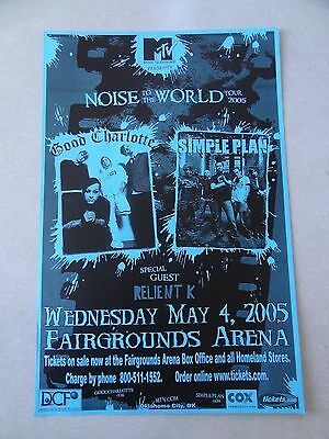 Good Charlotte  concert Poster flyer 11x17 2005 Simple Plan Relient K