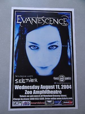 Evanescence Promo Poster Concert Flyer 11x17 Seether three days grace 2004