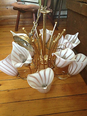 1950s Vintage Venetian Murano Glass Chandelier 10 Calla Lily Shade Lighting Lamp