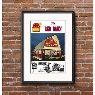 The Red Barn Family Restaurant Tribute Advertising Poster - Big Barney Fast Food
