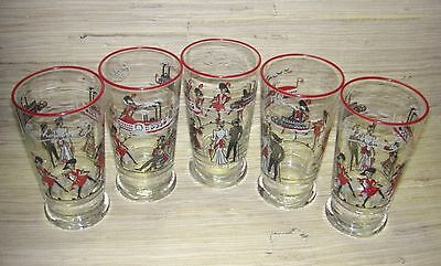 5 vintage SHOWBOAT BROADWAY MUSICAL & CASINO tumblers MID-CENTURY MODERN