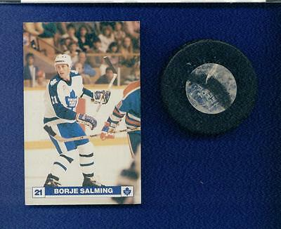 Toronto Maple Leafs Nhl Game Used Puck Plus A 1985 Borle Salming Postcard Photo