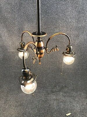 Edwardian Wakefield Fixtures Japanned Copper Chandelier Light Fixture