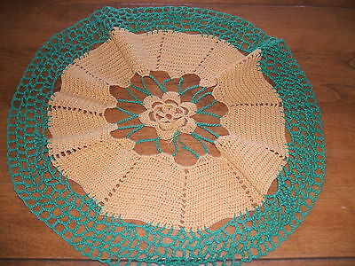 """Vintage Crochet table cover  greens and dark yellow  15"""" across round"""