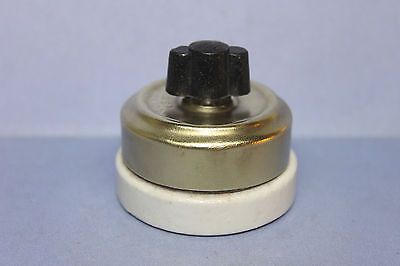 Vintage GE Chrome / White Porcelain Rotary Turn Light Switch - 3-Way - RARE